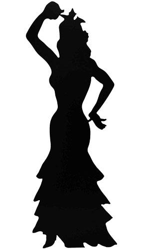Silhouette Flamenco Dancer Lifesize Cardboard Cutout - 182cm