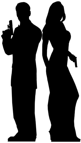 Silhouette Male And Female Double Agent Lifesize Cardboard Cutout 185cm