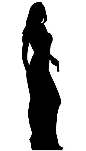 Silhouette Secret Agent Girl Lifesize Cardboard Cutout - 180cm