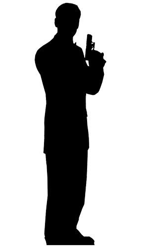 Silhouette Secret Agent Man Lifesize Cardboard Cutout - 180cm Product Image
