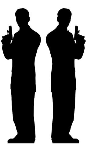 Silhouette Secret Agent Man Lifesize Cardboard Cutouts - 180cm - Pack of 2