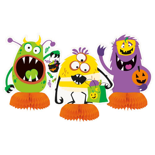 Silly Halloween Monsters Honeycomb Centrepiece Table Decorations - Pack of 3