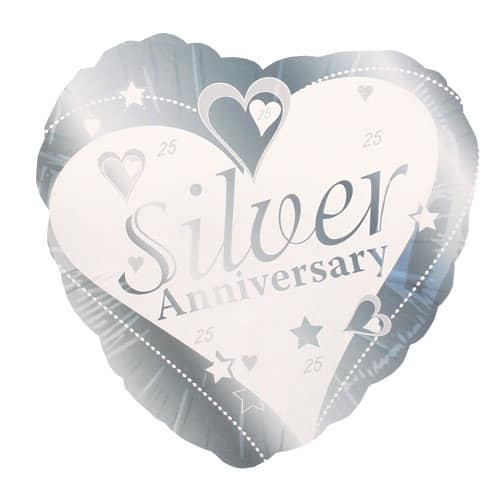 Silver 25th Anniversary Heart Shape Foil Helium Balloon 46cm / 18Inch Product Image