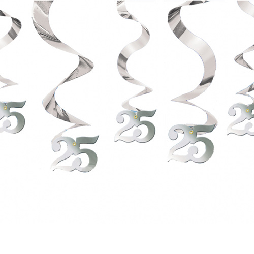Silver 25th Anniversary Swirl Hanging Decorations - Pack of 5 Product Image
