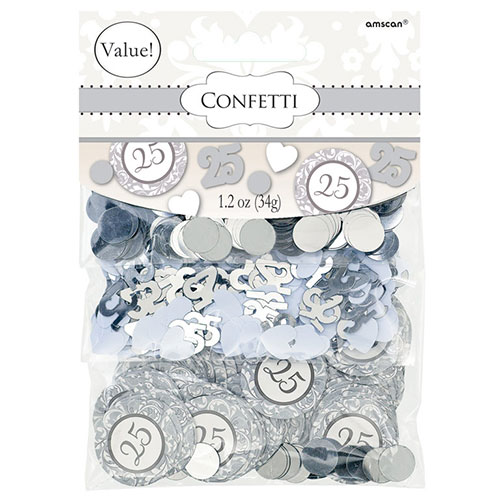 Silver 25th Anniversary Value Table Confetti 34 Grams - Pack of 3 Product Image