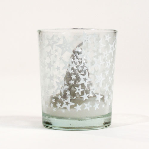 Silver 3D Christmas Tree Candle 6cm