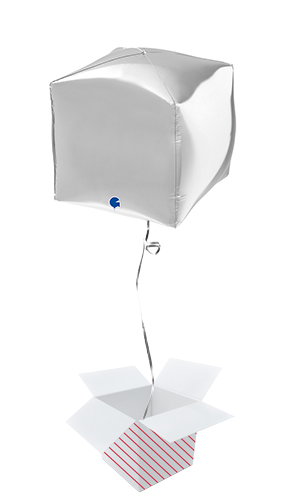 Silver 4D Square Shape Foil Helium Balloon - Inflated Balloon in a Box Product Image