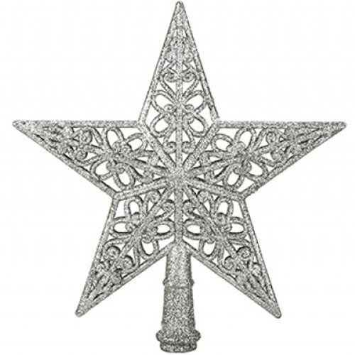 5 Tip Glittered Silver Christmas Tree Top Star 20cm Product Image