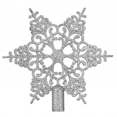 6 Tip Glittered Silver Christmas Tree Top Star 20cm Product Image