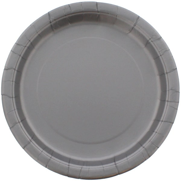 Silver Round Paper Plates 22cm - Pack of 16
