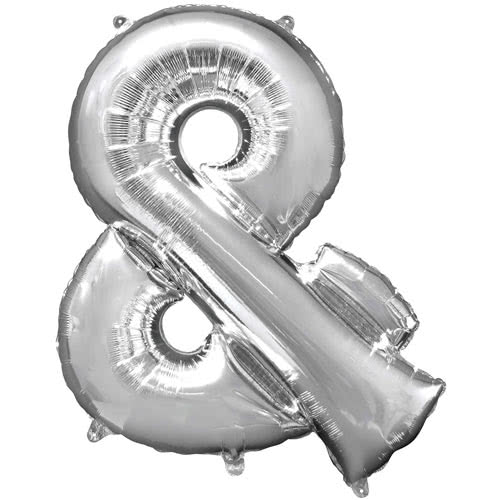 Silver Ampersand Helium Foil Giant Balloon 96cm / 38 in Product Image