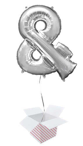 Silver Ampersand Helium Foil Giant Balloon - Inflated Balloon in a Box Product Image