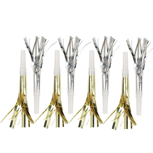 Metallic Silver And Gold Fringe Squawkers Blowouts - Pack of 8 Product Image