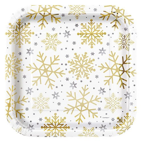 Silver And Gold Snowflakes Christmas Square Paper Plate 22cm Product Image