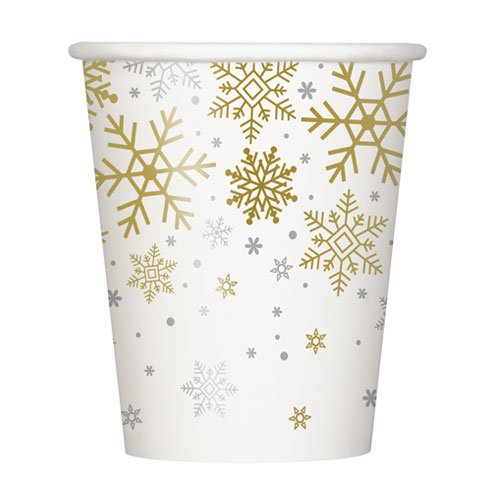 Silver And Gold Snowflakes Christmas Paper Cups 270ml - Pack of 8 Bundle Product Image