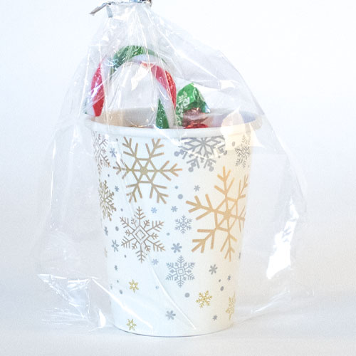 Silver And Gold Snowflakes Christmas Value Candy Cup Product Image
