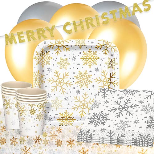Silver And Gold Snowflakes Christmas 16 Person Deluxe Party Pack