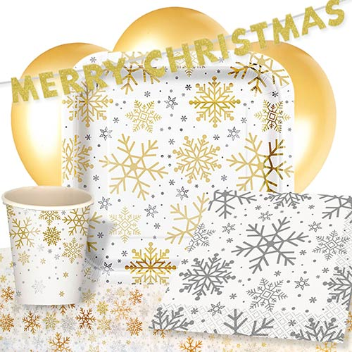Silver And Gold Snowflakes Christmas 8 Person Deluxe Party Pack
