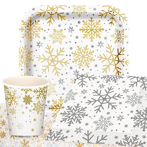 Silver And Gold Snowflakes Christmas 8 Person Value Party Pack