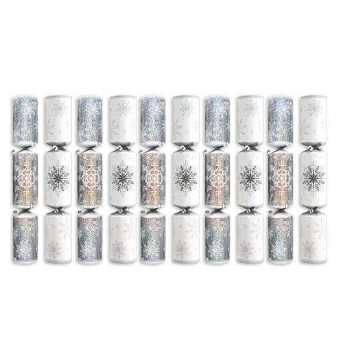 Deluxe Silver & White Christmas Crackers 34cm / 13.5 in - Pack of 10