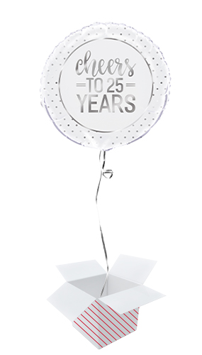 Silver Anniversary Cheers to 25 Years Round Foil Helium Balloon - Inflated Balloon in a Box