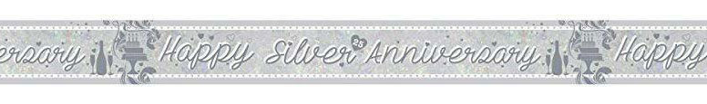 Silver Anniversary Holographic Foil Banner 270cm