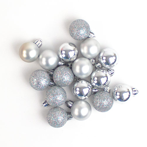 Silver Baubles Christmas Tree Decorations 3cm - Pack of 24