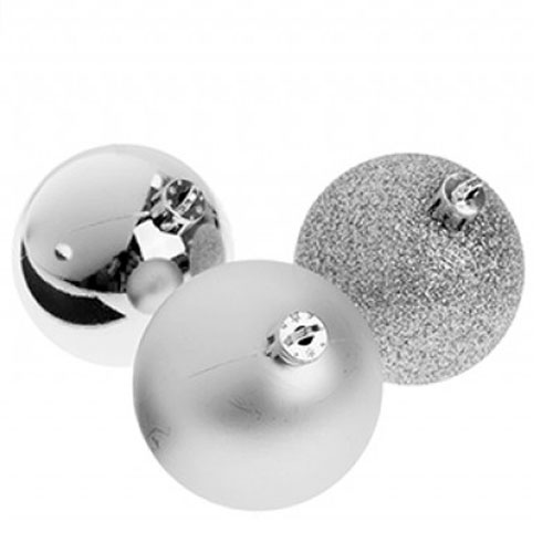 Silver Baubles Christmas Tree Decorations 5cm - Pack of 8