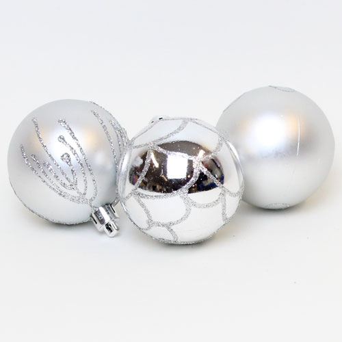 Silver Baubles Christmas Tree Luxury Hanging Decorations - Pack of 9