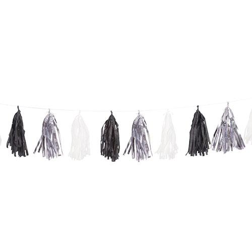 Silver Black & White Tassel Garland 274cm Product Image