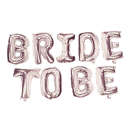 Silver BRIDE TO BE Air Fill Foil Letter Balloon Kit 34cm