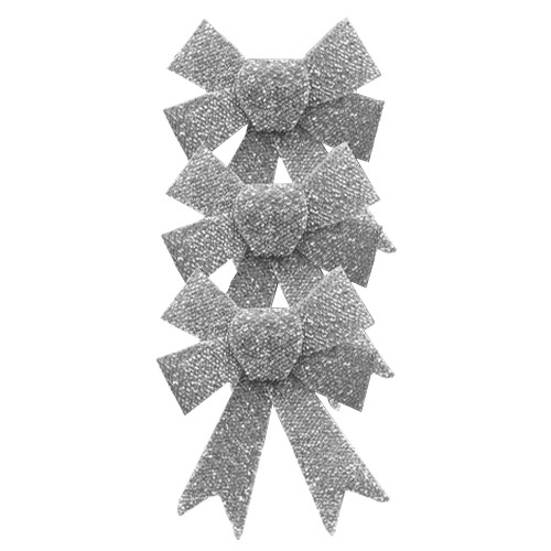 Silver & White Christmas Tinsel Bows - Pack of 3 Product Image