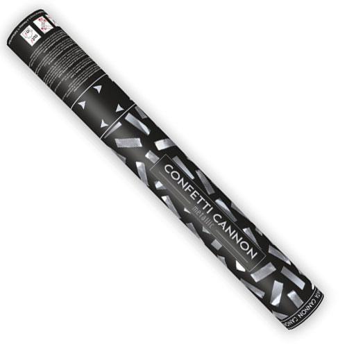 Silver Metallic Confetti Party Cannon 40cm Product Gallery Image