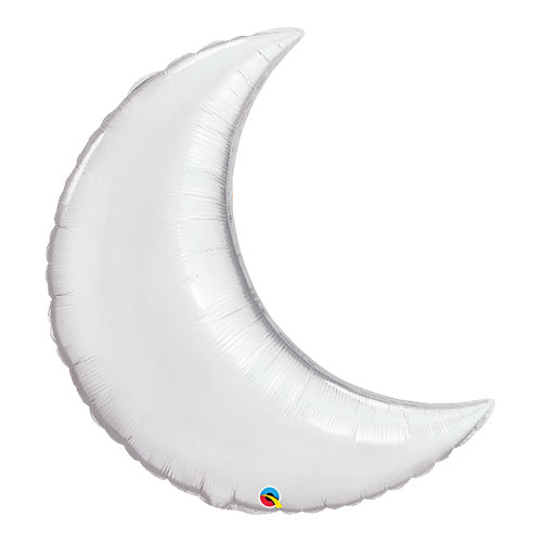 Silver Crescent Moon Helium Foil Giant Qualatex Balloon 89cm / 35  in Product Image