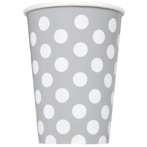 Silver Decorative Dots Paper Cups 354ml - Pack of 6