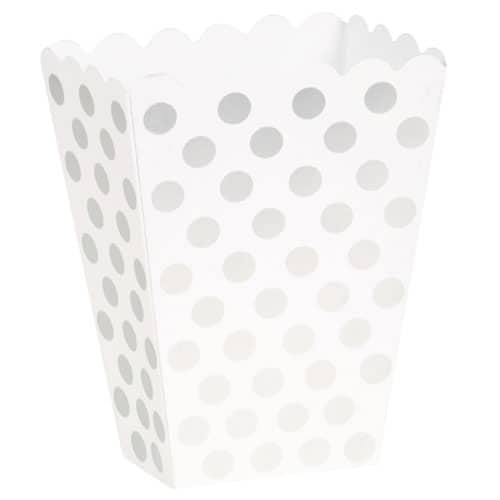 Silver Decorative Dots Treat Boxes - Pack of 8