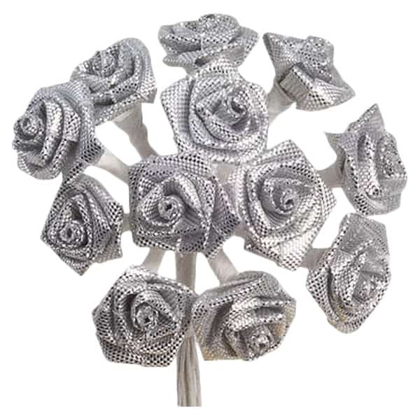 Silver Fabric Ribbon Roses - Bunch of 12 Product Image