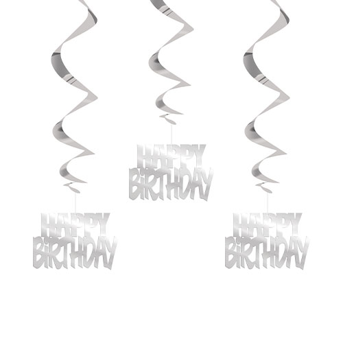 Silver Happy Birthday Script Hanging Swirl Decorations - Pack of 3