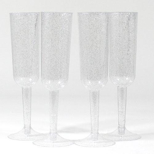 Silver Glitter Plastic Champagne Glasses - Pack of 4