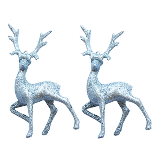 Silver Glitter Christmas Reindeer Decoration - Pack of 2 Product Image