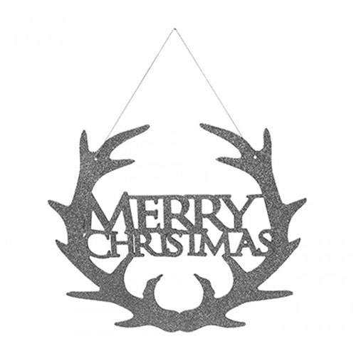 Silver Glitter Merry Christmas Hanging Decoration 30cm Product Image