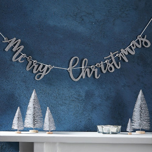 Silver Glitter Merry Christmas Wooden Bunting 1m Product Image