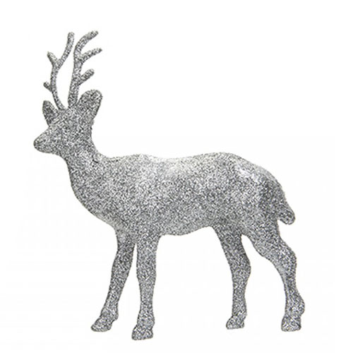 Silver Glitter Reindeer Christmas Decoration 17cm Product Image
