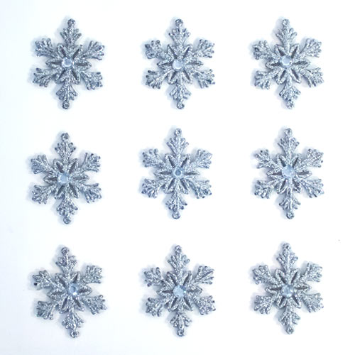 Silver & White Glittered Christmas Snowflakes Hanging Decorations 7cm - Pack of 9         Product Gallery Image