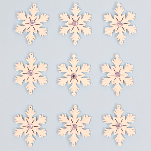 Silver & White Glittered Christmas Snowflakes Hanging Decorations 7cm - Pack of 9         Product Image