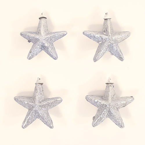 Silver Glittered Star Christmas Tree Decorations 8cm - Pack of 4         Product Image