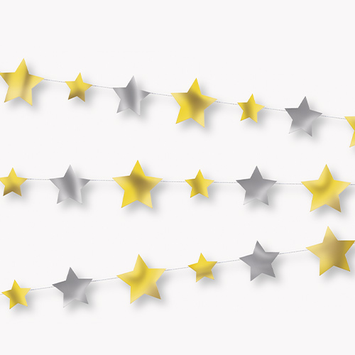 Silver & Gold Foil Stars Paper Garland Hanging Decoration 274cm