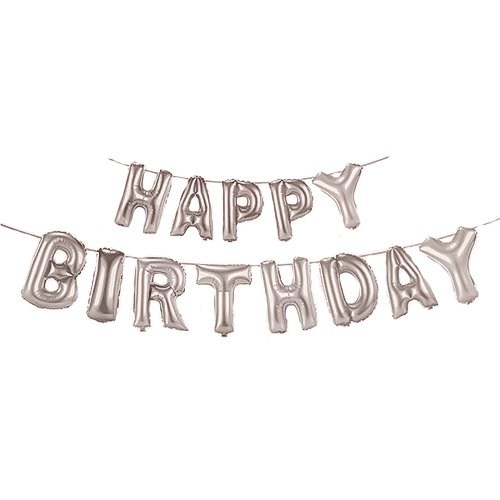 Silver HAPPY BIRTHDAY Air Fill Foil Letter Balloon Kit 34cm Product Image