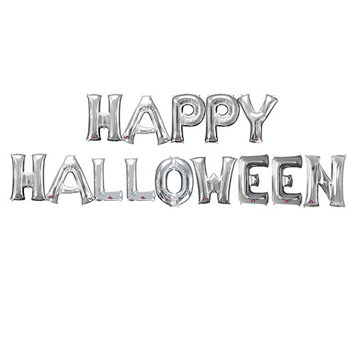 Silver HAPPY HALLOWEEN Small Air Fill Balloon Kit Product Image