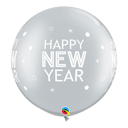 Silver Happy New Year Round Jumbo Latex Qualatex Balloons 76cm / 30 in - Pack of 2 Product Image